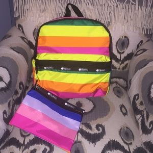 Rainbow Le Sportsac backpack with rainbow pouch.